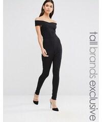 Exclusivité Missguided Tall - Combinaison cache-cœur style Bardot - Noir