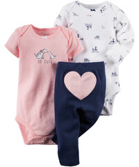 Carter's Dívčí trojkomplet body a kalhot se srdíčkem - růžovo-modro-bílý