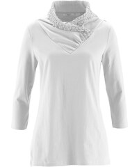 bpc bonprix collection T-shirt à col fantaisie manches 3/4 blanc femme - bonprix