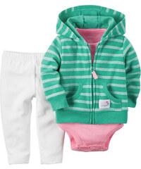 Carter's Dívčí trojkomplet body, legíny a mikina - bílo-zeleno-růžový