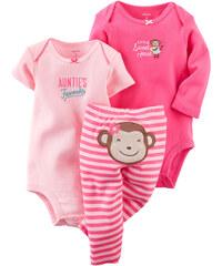 Carter's Dívčí trojkomplet body a kalhoty s opičkou- růžový
