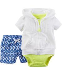 Carter's Dívčí trojkomplet body, šortky a mikina - bílo-zeleno-modrý