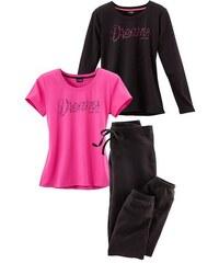Vivance Dreams Pyjama Set (3 tlg.) mit T-Shirt Langarmshirt & Hose rosa 32/34,36/38,40/42,44/46,48/50,52/54,56/58
