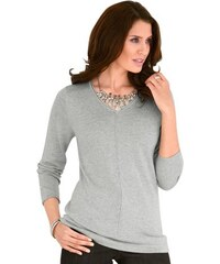 Damen Classic Inspirationen Pullover mit eingestrickter Paspel entlang des V-Ausschnitts CLASSIC INSPIRATIONEN silberfarben 36,38,40,42,44,46,48,50,52