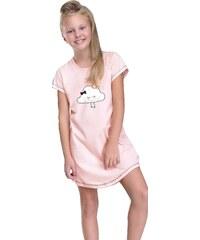 Taro Dívčí noční košilka Liana lososová s obláčkem