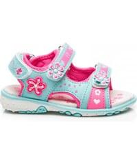 ERINO Pěkné tyrkysové dětské sandálky s květinkami