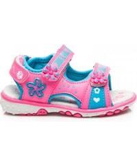 ERINO Pěkné modro-ružové dětské sandálky s květinkami