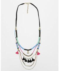 Pimkie Lange mehrreihige Halskette mit Perlen und Troddeln