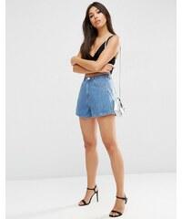 ASOS - Jupe-culotte courte trapèze en jean - Bleu