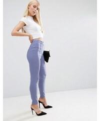 ASOS - Pantalon taille haute coupe skinny - Bleu