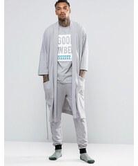 ASOS Loungewear - Robe de chambre style kimono effet gaufré - Gris