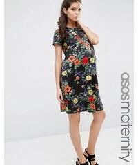 ASOS Maternity - T-Shirt-Kleid aus Neopren mit dunklem Blumen-Print - Mehrfarbig