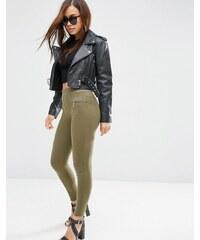 ASOS - Pantalon skinny avec coutures apparentes et fermetures éclair - Vert