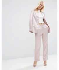 ASOS - Weiche Pyjama-Hose aus Satin mit Paspelierung - Rosa