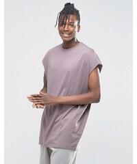 ASOS - T-shirt sans manches super oversize avec bords bruts - Gris violet - Violet
