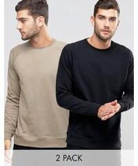 ASOS - Lot de 2 sweat-shirts - Noir/beige - Multi