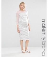Bluebelle Maternity Bluebelle - Lounge-Mode für Schwangere - Gestreiftes, figurbetontes Kleid mit Farbblockdesign - Grau