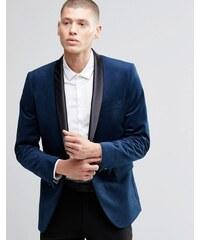Farah - Blazer cintré en velours avec revers style châle - Bleu marine