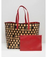 Love Moschino - Wendbare Einkaufstasche mit Punkten - Rot