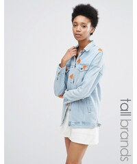 Noisy May Tall - Jeansjacke mit Wassermelonenstickerei - Blau
