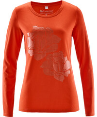 bpc selection T-shirt manches longues à imprimé brillant orange femme - bonprix