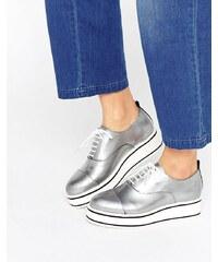 Bronx - Eva - Chaussures à lacets et semelle plateforme - Argenté