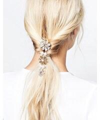 Krystal - Peigne à cheveux à fleurs ornées de cristaux Swarovski et perles - Doré