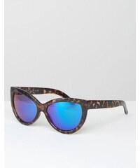 7X - Lunettes de soleil yeux de chat à verres bleus réfléchissants - Marron