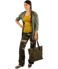 TopMode Maskáčové kalhoty s odepínacími nohavicemi zelená