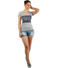 TopMode Pohodlné tričko s nápisy šedá