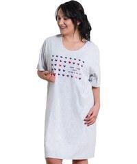 Vienetta Secret Bavlněná noční košile pro plnoštihlé Adina šedá XL