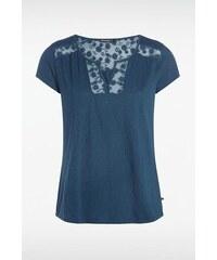T shirt femme dentelle col Bleu Coton - Femme Taille L - Bonobo