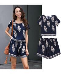 Lesara 2er-Set High Waist-Shorts mit Shirt im Blatt-Muster - S