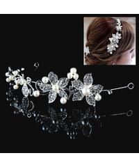 Lesara Haarband mit Blumen & Kunstperlen
