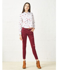 pantalon super skinny destroy bordeaux Jennyfer