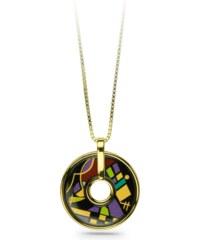 Cubo Jewels Pendentif Disque Noir & Violet en Plaqué Or Jaune Kandinsky