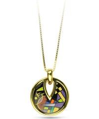 Cubo Jewels Pendentif Noir & Violet en Plaqué Or Jaune Kandinsky