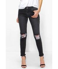 BOOHOO Skinny džíny Hannah s dierovanými kolenami