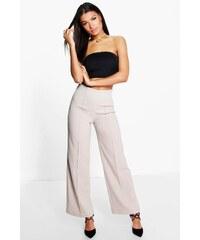 BOOHOO Béžové kalhoty Isabel s puky