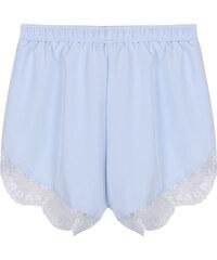 Lesara High Waist-Shorts mit Spitzen-Saum - Violett - S