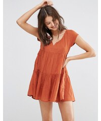 ASOS - Robe tunique de plage à volants - Orange