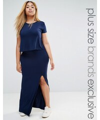 Club Lounge Plus Club L Lounge Plus - Doppellagiges Maxikleid aus Jersey - Marineblau