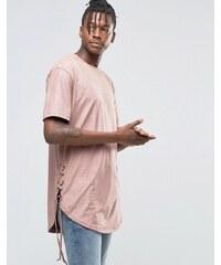 Hand Of God - T-shirt en suédine avec dentelle - Rose