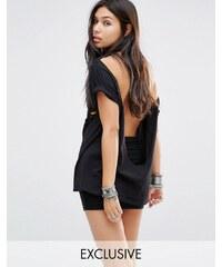 Milk It Vintage - Oversize-T-Shirt mit Abnutzungseffekt und Rückenausschnitt - Schwarz
