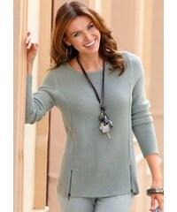 Damen Pullover mit linksgestrickten Ärmeln Ambria grün 36,38,40,42,44,46,48,50,52