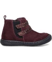 Eram Boots croûte de cuir paillettes bordeaux