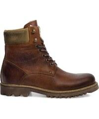 Eram Boots cranté fourré cuir cognac