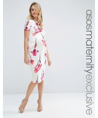 ASOS Maternity - Robe fourreau à fleurs en néoprène - Rouge - Multi