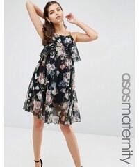 ASOS Maternity - Mini robe trapèze volantée en tulle motif fleuri - Multi