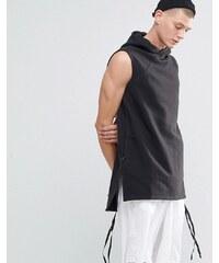 Maharishi - Lange Sweatshirt-Weste mit Kapuze - Schwarz
